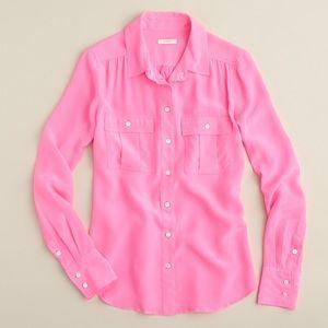 J Crew Neon Pink Blythe Shirt Blouse 100% Silk